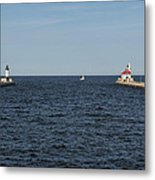 Duluth N And S Pier Lighthouses 5 Metal Print