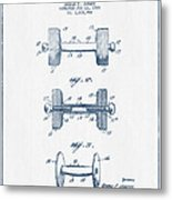 Dumbbell Patent Drawing From 1935  -  Blue Ink Metal Print