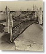 Dune Erosion Fence Outer Banks Nc Antique Plate Img_3761 Metal Print