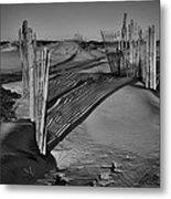 Dune Erosion Fence Outer Banks Nc B And W Img_3761 Metal Print