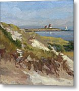 Dunes Of Napatree With Watchhill Light  Metal Print