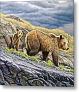 Dunraven Pass Grizzly Family Metal Print by Paul Krapf