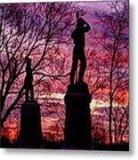 Durell's Independent Battery D And 48th Pa Volunteer Infantry-a1 Sunset Antietam Metal Print by Michael Mazaika
