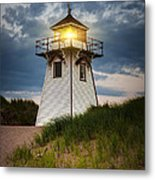 Dusk At Covehead Harbour Lighthouse Metal Print