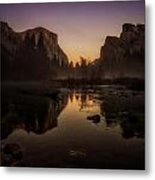 Dusk At Valley View Yosemite National Park Metal Print
