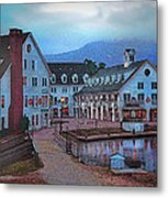 Dusk Before Snow At Town Square Metal Print