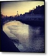Dusk Haypenny Bridge Dublin Metal Print by Maeve O Connell