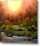 Dusk On The Riverbank Metal Print