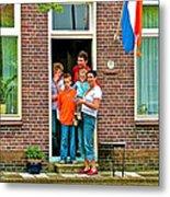 Dutch Family On Orange Day In Enkhuizen-netherlands Metal Print