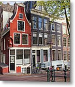 Dutch Style Traditional Houses In Amsterdam Metal Print