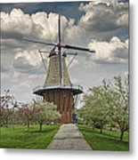 Dutch Windmill The Dezwaan On Windmill Island In Holland Michigan Metal Print