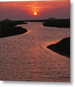 Dwelling Mounds In The Wadden Sea Metal Print