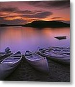 D.wiggett Canoes On Shore, Pink And Metal Print