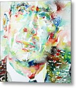 E. E. Cummings - Watercolor Portrait Metal Print