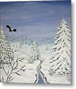 Eagle On Winter Lanscape Metal Print