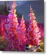 Eagle River Summer Chickadee And Fireweed Alaskan Landscape Metal Print