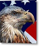 Eagle With Us American Flag Metal Print
