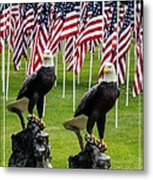 Eagles And Flags On Memorial Day Metal Print
