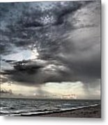 Early Am Storm At The Beach Metal Print