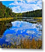 Early Autumn At Fly Pond - Old Forge Ny Metal Print