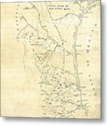Early Hand-drawn Southern Texas Map C. 1795 Metal Print