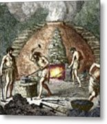 Early Humans Smelting Iron Metal Print
