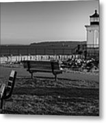 Early Morning At Bug Lighthouse Bw Metal Print
