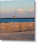 Early Morning Beach And Lighthouse Metal Print
