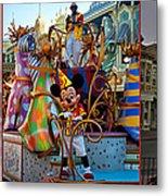 Early Morning Main Street With Mickey Walt Disney World 3 Panel Composite Metal Print