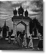 Early Morning Monks Metal Print