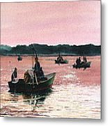 Early Morning Scallopers Metal Print