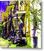 Early Spring Stroll City Streets With Spiral Staircases Art Of Montreal Street Scenes Carole Spandau Metal Print