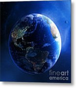 Earth And Galaxy With City Lights Metal Print