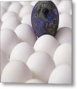 Earth Egg Pollution Metal Print