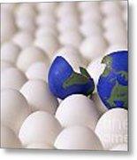 Earth Egg Torn Apart Metal Print