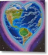 Earth Equals Heart Metal Print