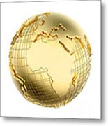 Earth In Gold Metal Isolated - Africa Metal Print