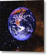 Earth In Space With Gaseous Nebula And Metal Print