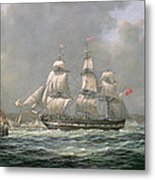 East Indiaman Hcs Thomas Coutts Off The Needles     Isle Of Wight Metal Print by Richard Willis
