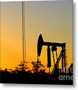 East Texas Pumpjack At Sunset Metal Print by Kathy  White