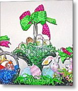 Easter Baskets In A Row  Metal Print