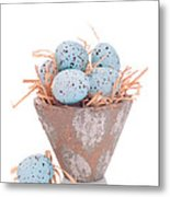 Easter Egg On Straw Metal Print