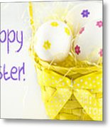 Easter Eggs In Basket Metal Print