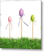 Easter Eggs In Grass Metal Print