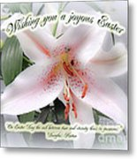 Easter Greeting Card - White Lily With Quote Metal Print