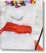 Easter Snowman Metal Print