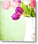 Easter Tulips And Copy Space Metal Print