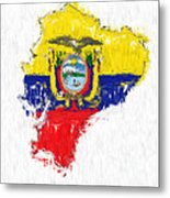 Ecuador Painted Flag Map Metal Print