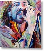 Eddie Vedder In Pink And Blue Metal Print by Joshua Morton