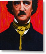 Edgar Allan Poe - Painterly Metal Print by Wingsdomain Art and Photography